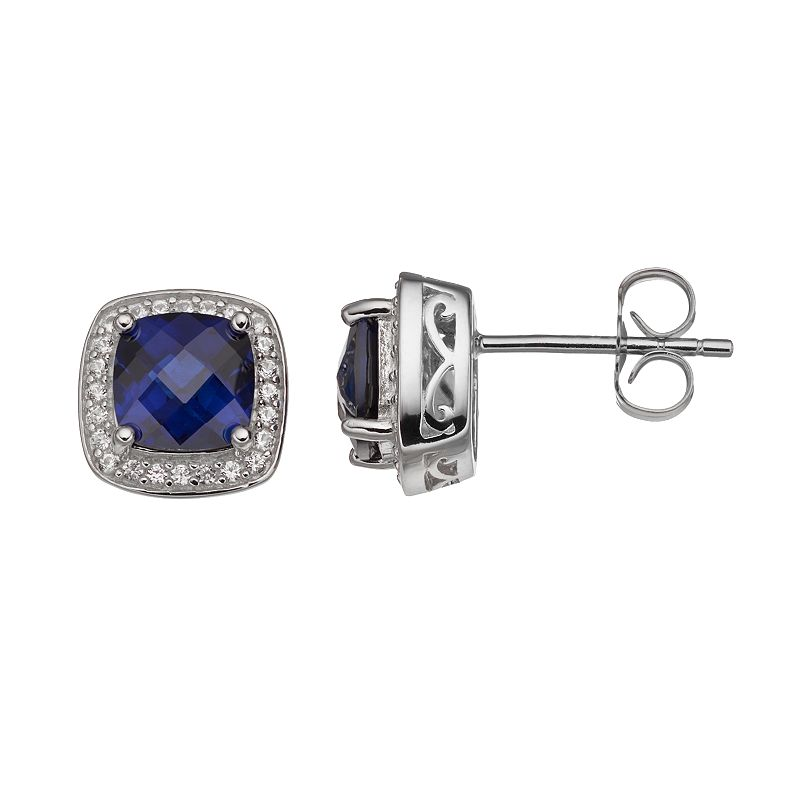 Lab-Created Blue & Lab-Created White Sapphire Sterling Silver Square Halo Stud Earrings