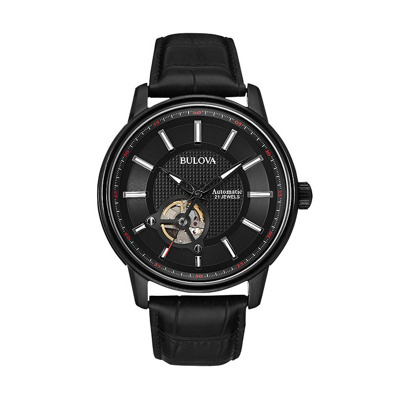 Bulova Men's Leather Automatic Watch - 98A139