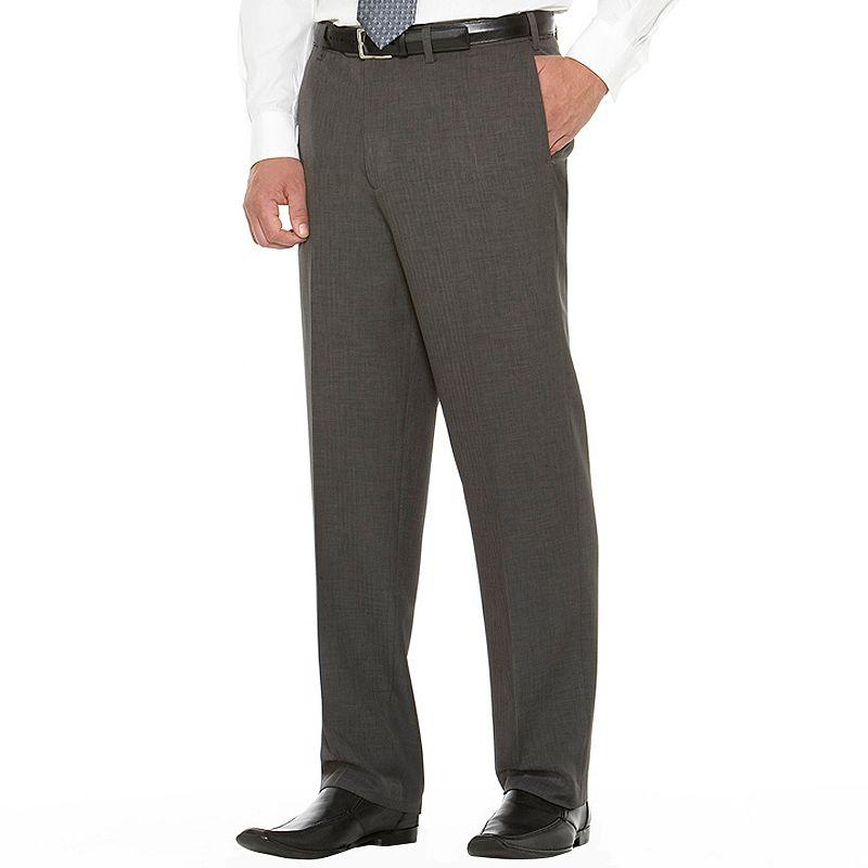 Men's Savane Herringbone Flat-Front Comfort Waist Dress Pants