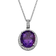 Amethyst & Lab-Created White Sapphire Sterling Silver Oval Halo Pendant Necklace by