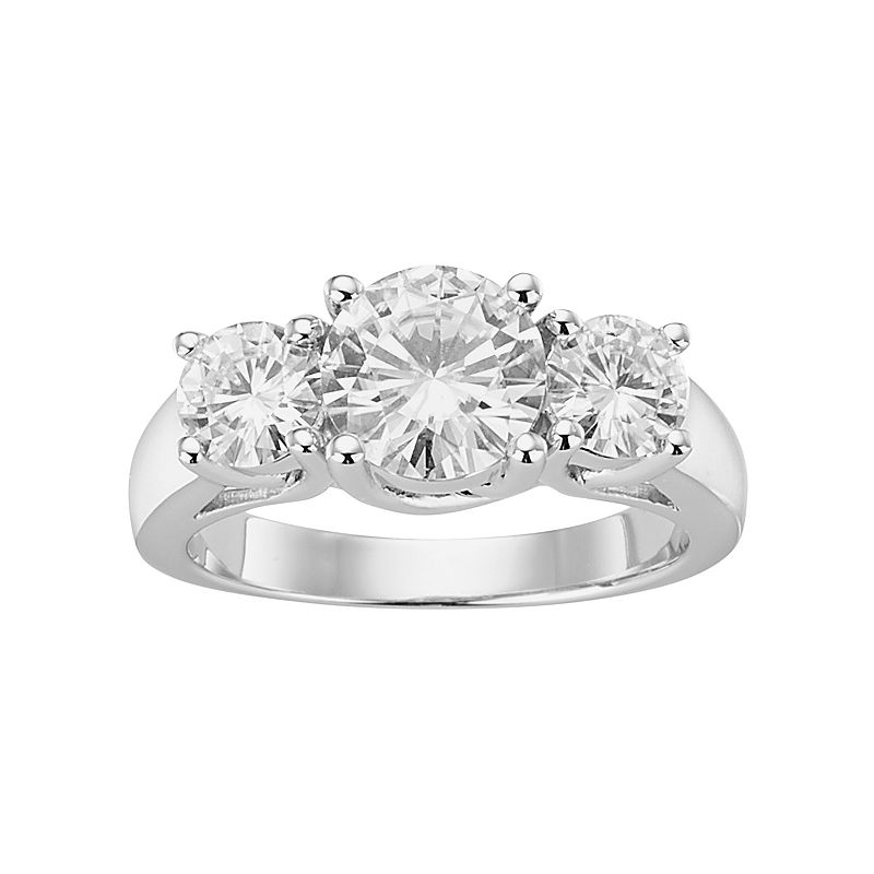 Forever Brilliant Lab-Created Moissanite 3-Stone Engagement Ring in 14k White Gold (2 1/2 Carat T.W.)
