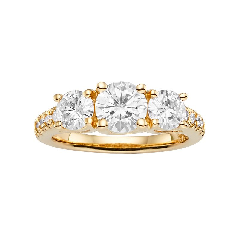 Forever Brilliant Lab-Created Moissanite 3-Stone Engagement Ring in 14k Gold (2 1/4 Carat T.W.)