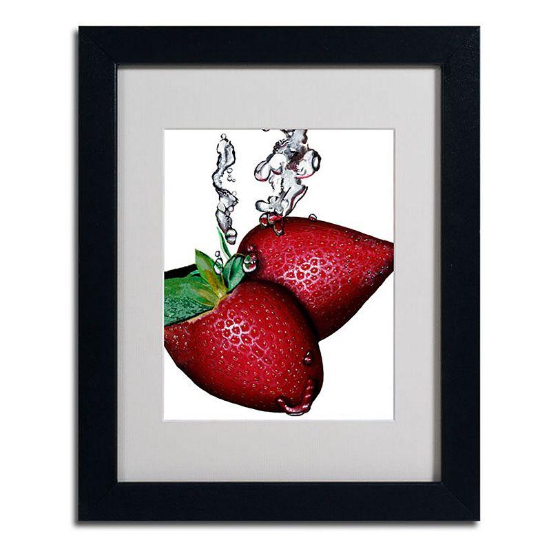 Trademark Fine Art 11 X 14 Strawberry Splash Ii Framed Canvas Wall Art Black Overall | Clothing