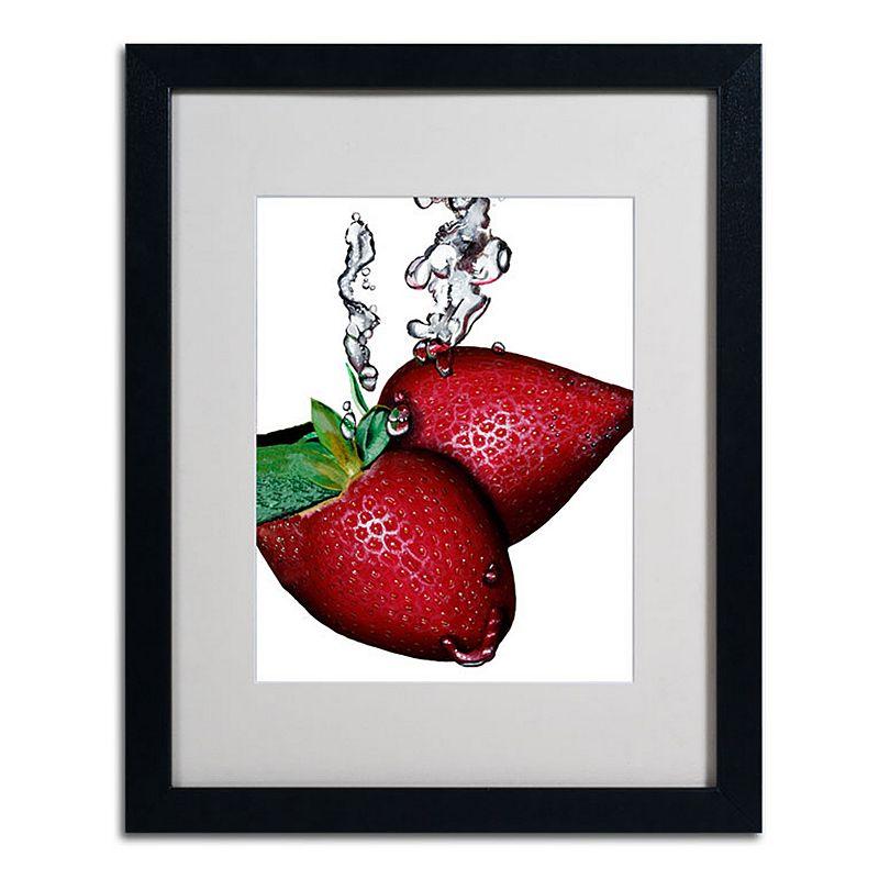 Trademark Fine Art 16 X 20 Strawberry Splash Ii Framed Canvas Wall Art Black Overall | Clothing