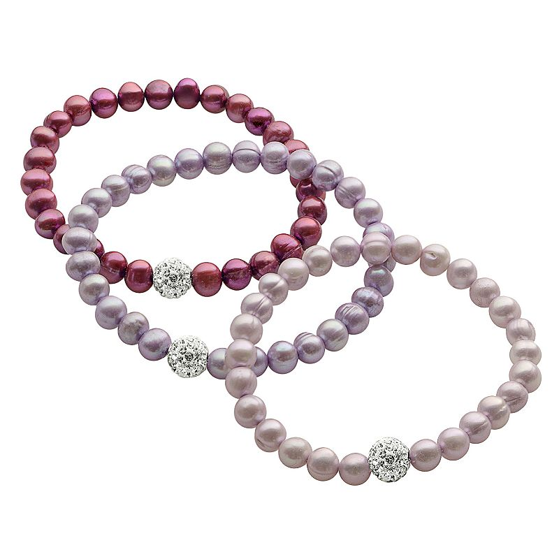 PearLustre by Imperial Dyed Freshwater Cultured Pearl and Crystal Stretch Bracelet Set