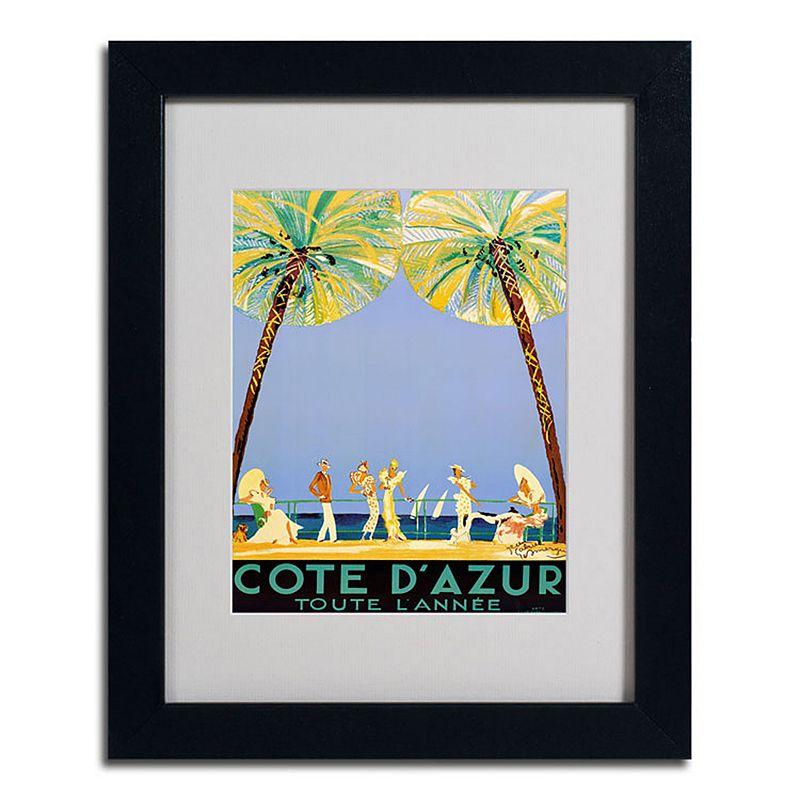 Trademark Fine Art 14 X 11 Cote Dazur Beach Framed Canvas Wall Art Black Overall   Clothing