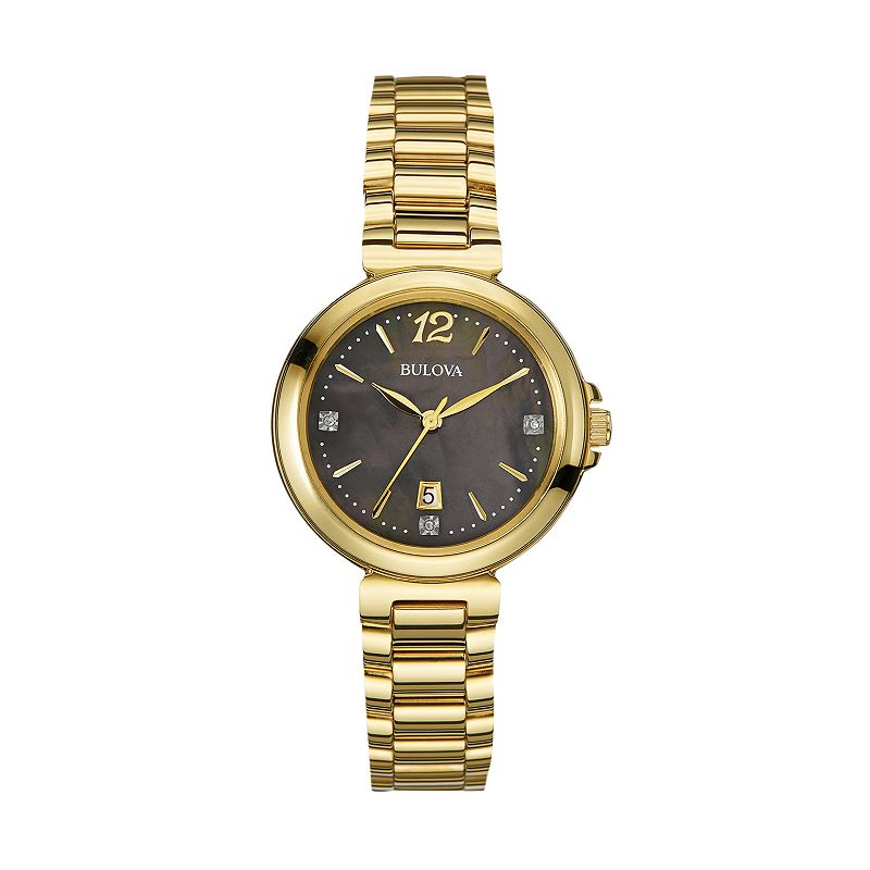 Bulova Women's Diamond Gold Tone Stainess Steel Watch