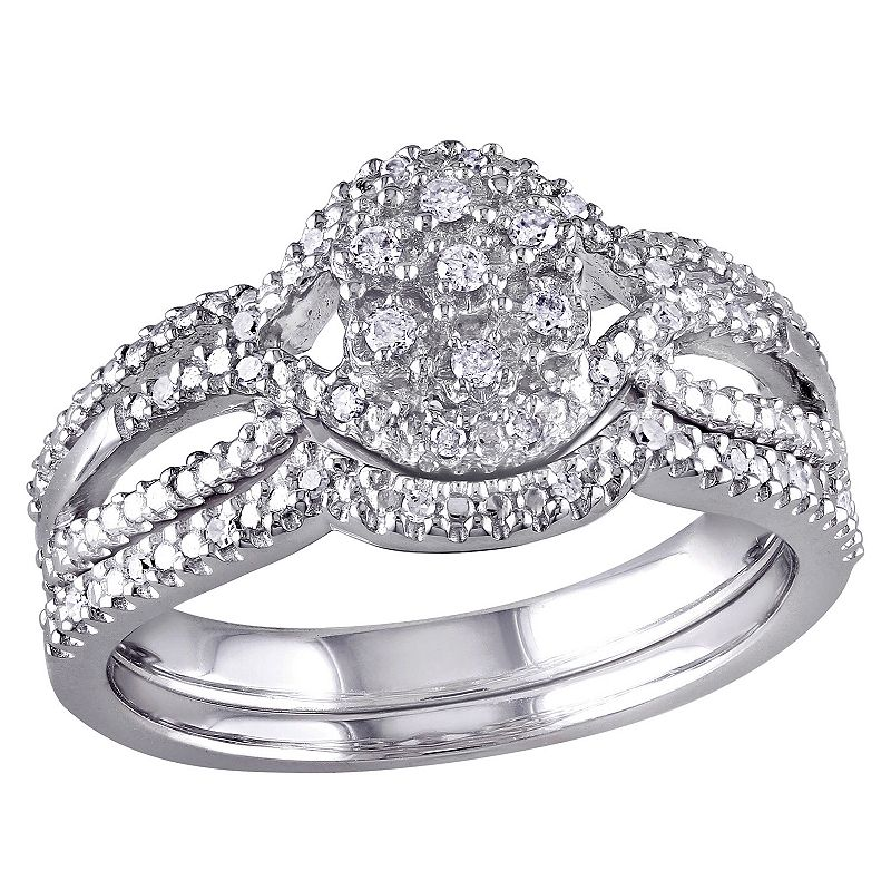 diamond engagement ring set in sterling silver 1 7 carat With kohls wedding ring sets