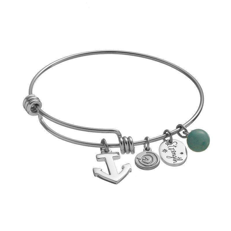 love this life Amazonite Stainless Steel '' Strength'' Charm Bangle Bracelet