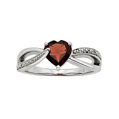 Garnet & Diamond Accent Sterling Silver Heart Bypass Ring