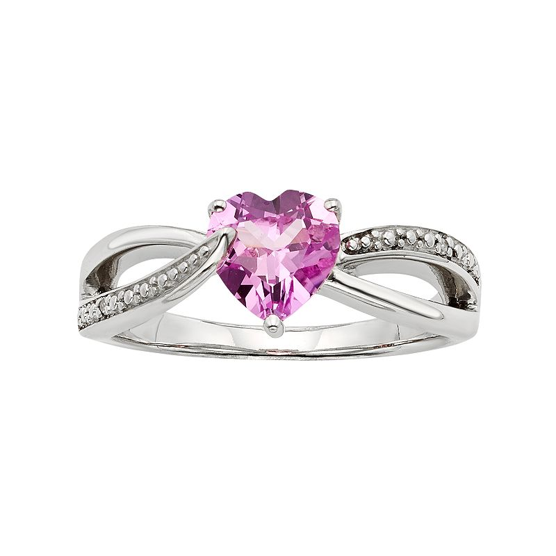 Lab-Created Pink Sapphire and Diamond Accent Sterling Silver Heart Bypass Ring