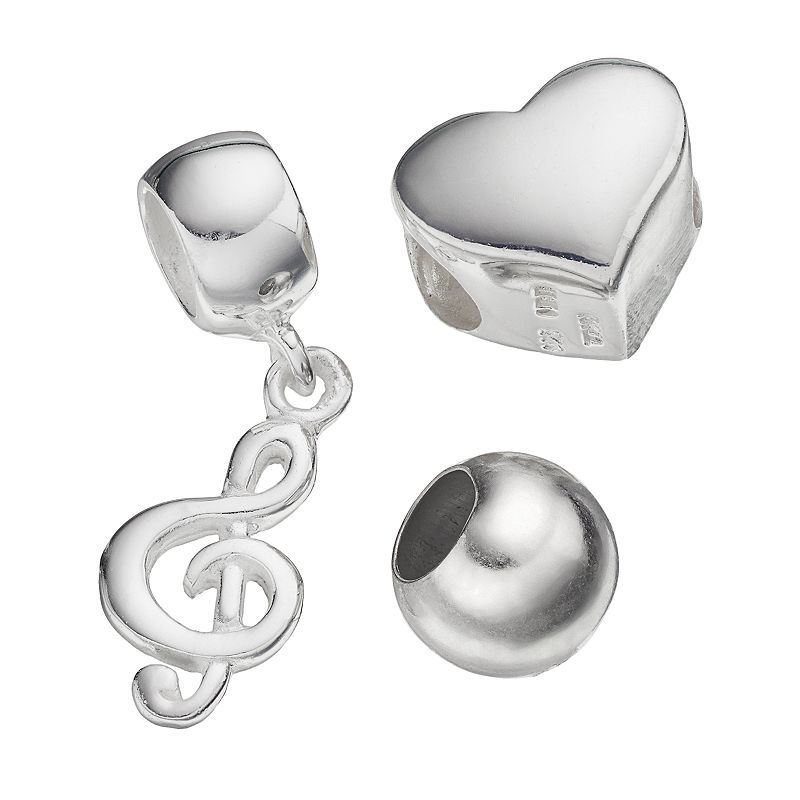 Individuality Beads Sterling Silver Heart Bead and Trebel Clef Charm Set