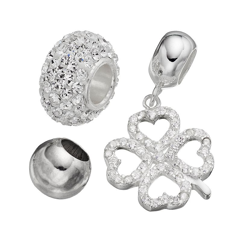 Individuality Beads Cubic Zirconia and Crystal Sterling Silver Bead and Four-Leaf Clover Charm Set