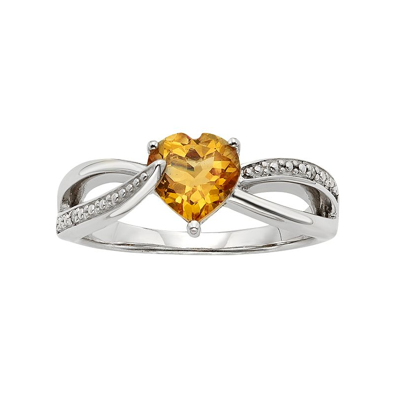 Citrine and Diamond Accent Sterling Silver Heart Bypass Ring