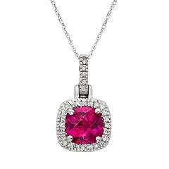Lab-Created Ruby & 1/8 Carat T.W. Diamond 10k White Gold Halo Pendant Necklace by