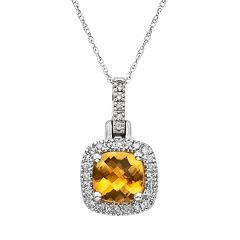 Citrine & 1/8 Carat T.W. Diamond 10k White Gold Halo Pendant Necklace by