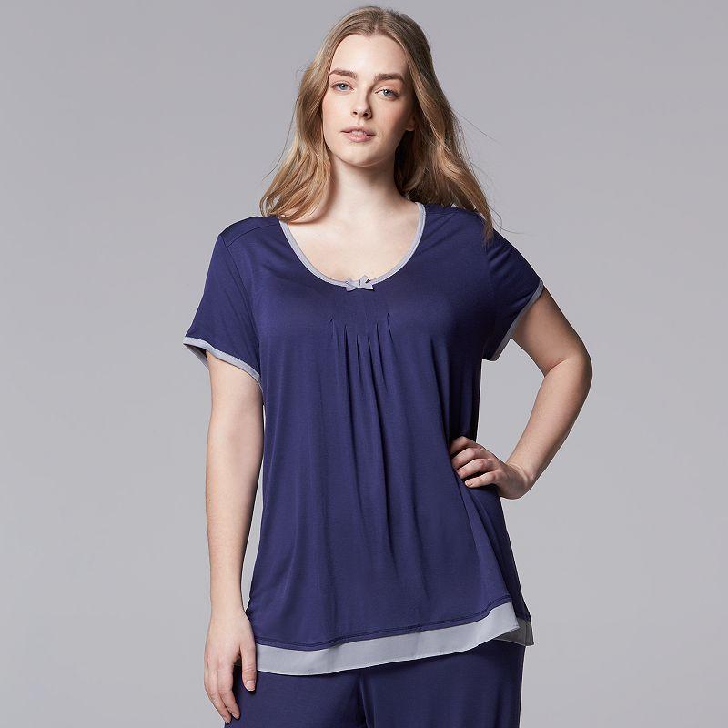 Plus Size Simply Vera Vera Wang Pajamas: Basic Luxury Pajama Top