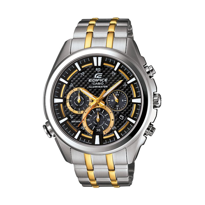 Casio Men's EDIFICE Neon Illuminator Two Tone Stainless Steel Chronograph Watch - EFR537SG-1AV