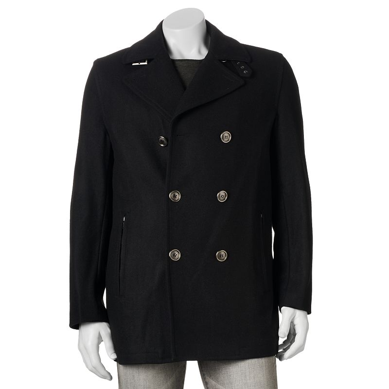 Towne by London Fog Wool-Blend Double-Breasted Peacoat - Men