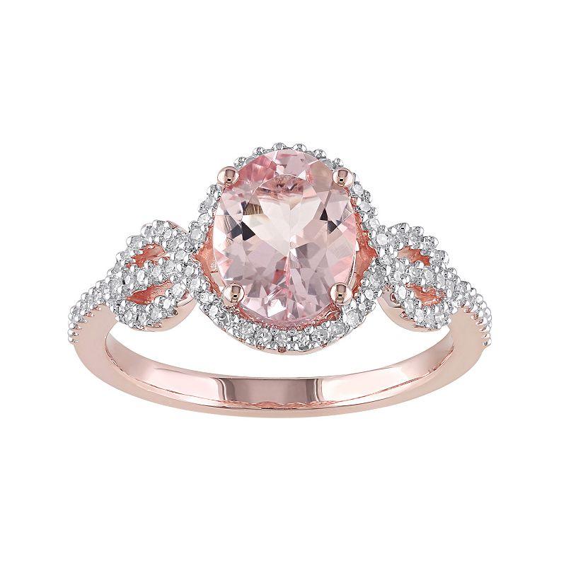 Morganite and 1/4 Carat T.W. Diamond 10k Rose Gold Ring