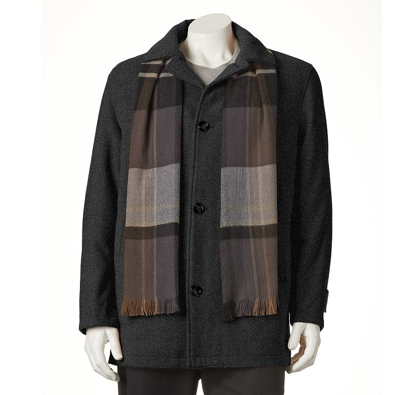 Big & Tall Towne Wool-Blend Car Coat With Plaid Scarf