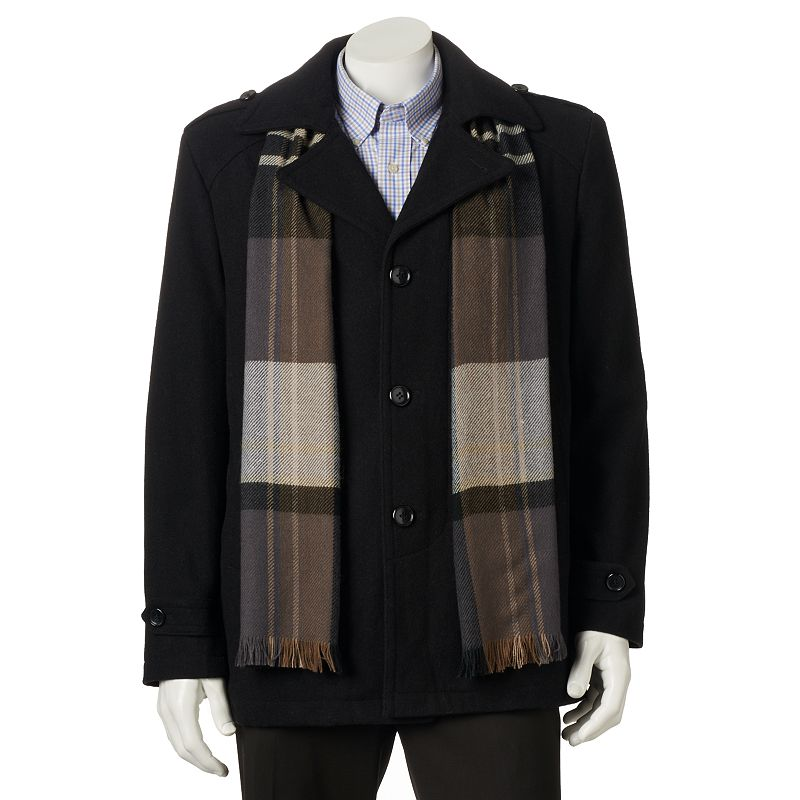 Big & Tall Towne by London Fog Wool-Blend Car Coat With Plaid Scarf