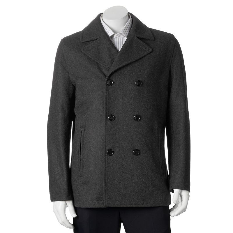 Big & Tall Towne by London Fog Wool-Blend Double-Breasted Peacoat