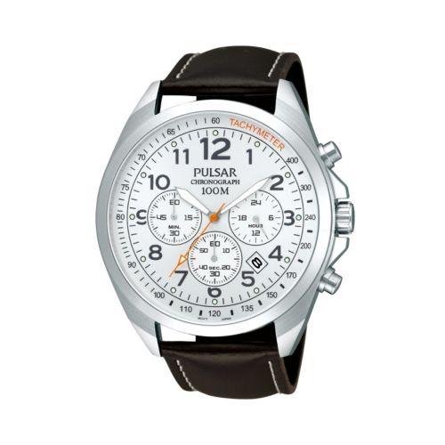 Pulsar Men's Leather Chronograph Watch - PT3419X