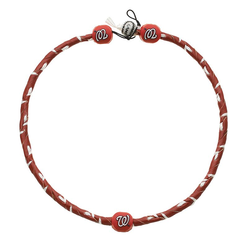 GameWear Frozen Rope Washington Nationals Leather Baseball Necklace