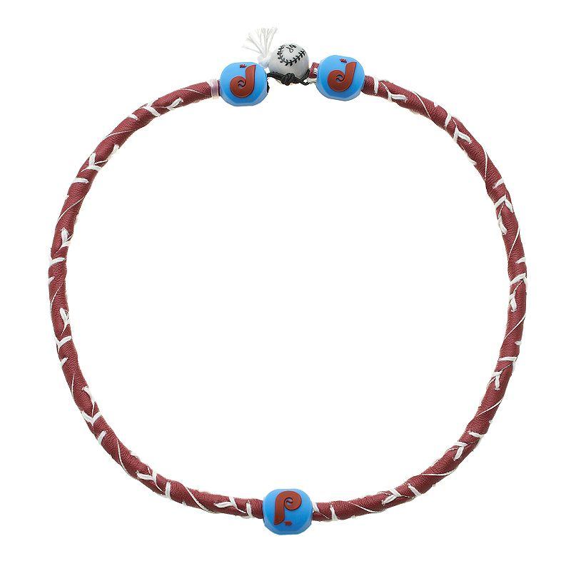 GameWear Frozen Rope Philadelphia Phillies Leather Baseball Necklace
