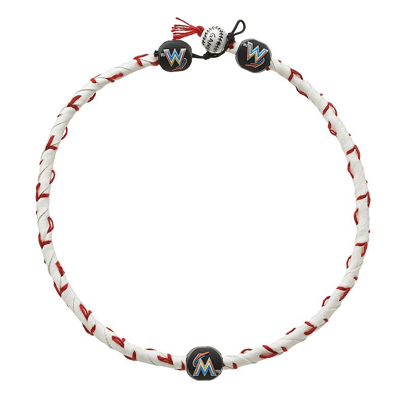 GameWear Frozen Rope Miami Marlins Leather Baseball Necklace