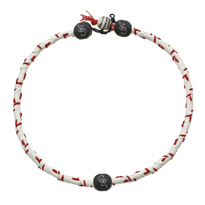 GameWear Frozen Rope Colorado Rockies Leather Baseball Necklace