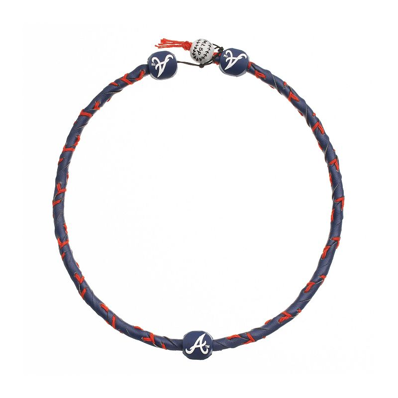 GameWear Frozen Rope Atlanta Braves Leather Baseball Necklace