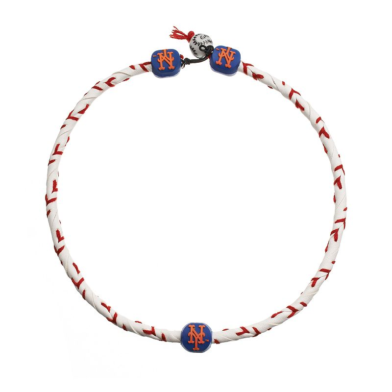 GameWear Frozen Rope New York Mets Leather Baseball Necklace