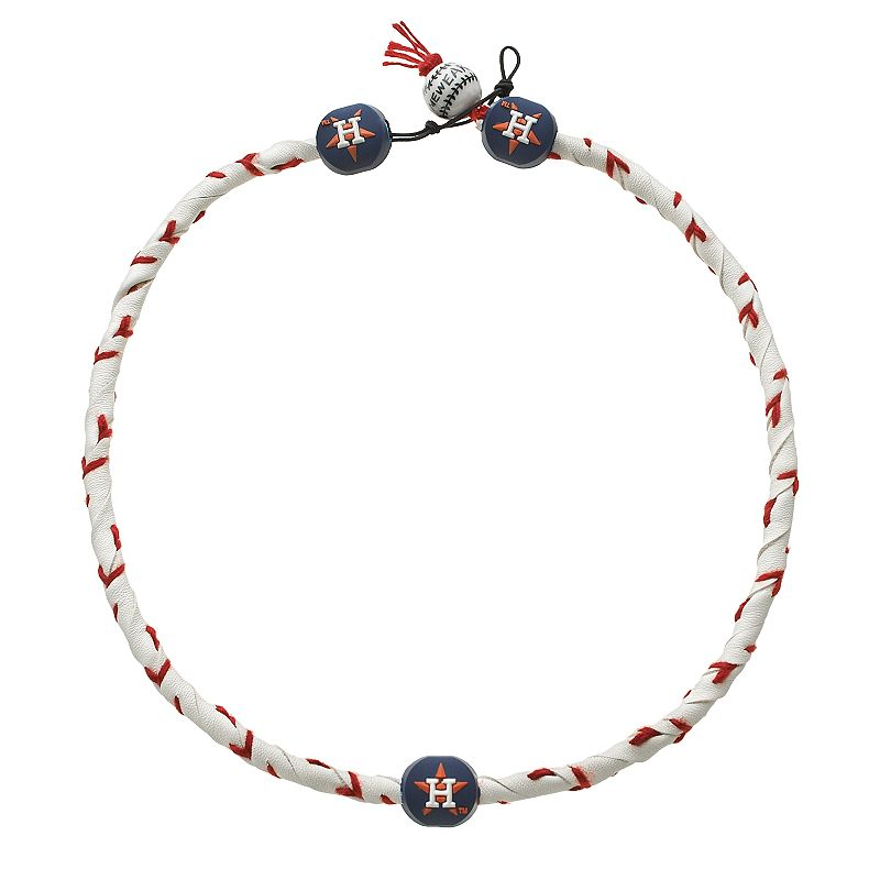 GameWear Frozen Rope Houston Astros Leather Baseball Necklace