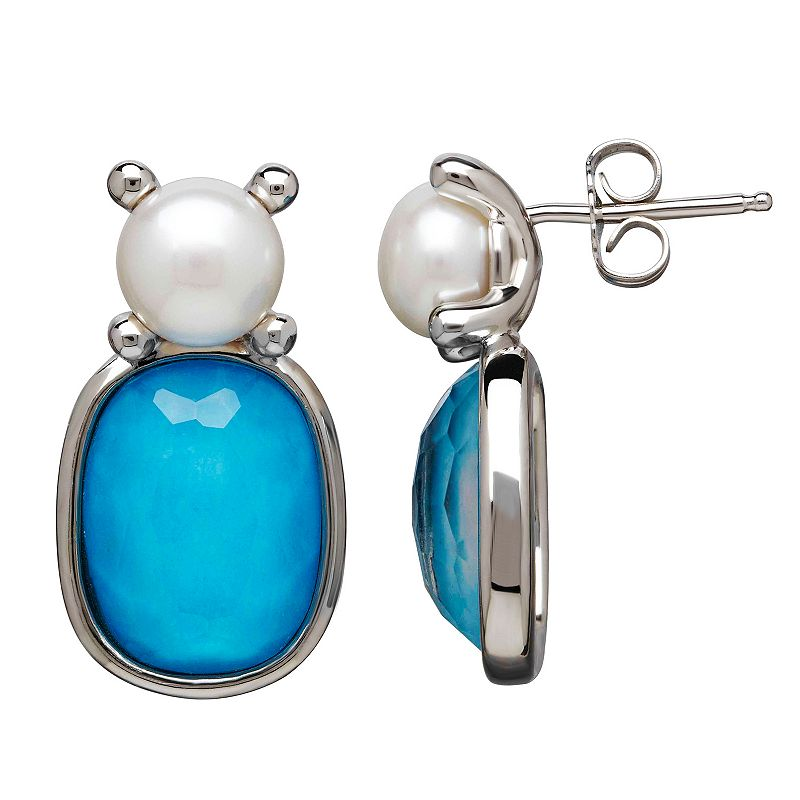 Freshwater by HONORA Freshwater Cultured Pearl and Simulated Turquoise Drop Earrings
