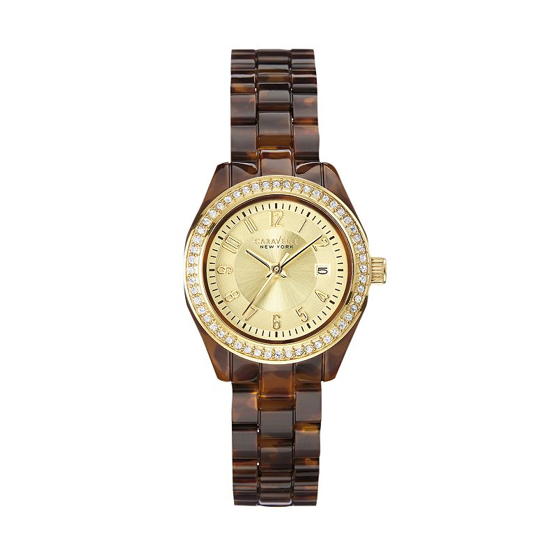 Caravelle New York by Bulova Women's Crystal Tortoise Shell Watch - 44M104