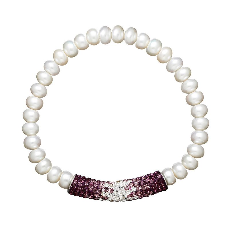 Freshwater by HONORA Freshwater Cultured Pearl and Crystal Sterling Silver Ombre Stretch Bracelet