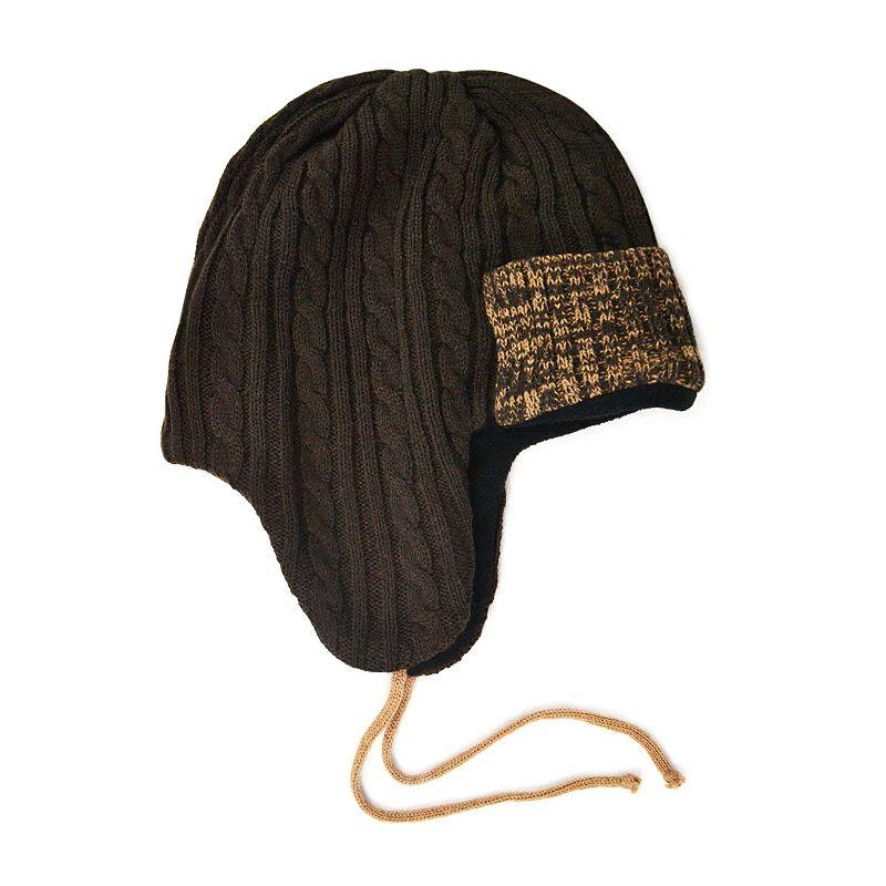 MUK LUKS Colorblock Cable-Knit Trapper Hat - Men