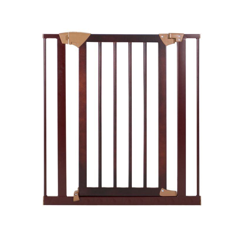 Baby Trend Pressure Fit Metal and Hardwood Safety Gate, Dark Brown thumbnail
