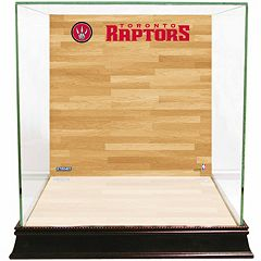 Steiner Sports Glass Basketball Display Case with Toronto Raptors Logo On Court Background by