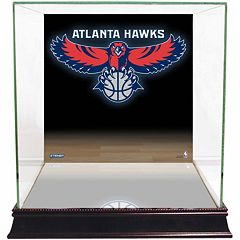 Steiner Sports Glass Basketball Display Case with Atlanta Hawks Logo Background by