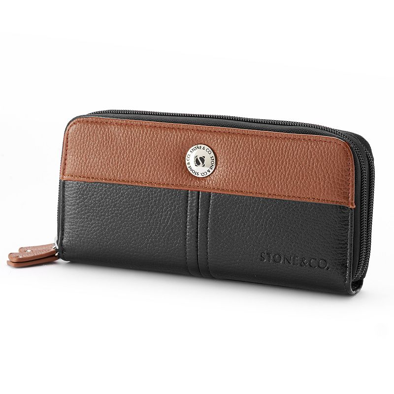 Stone and Co. Leather Double Zip Clutch