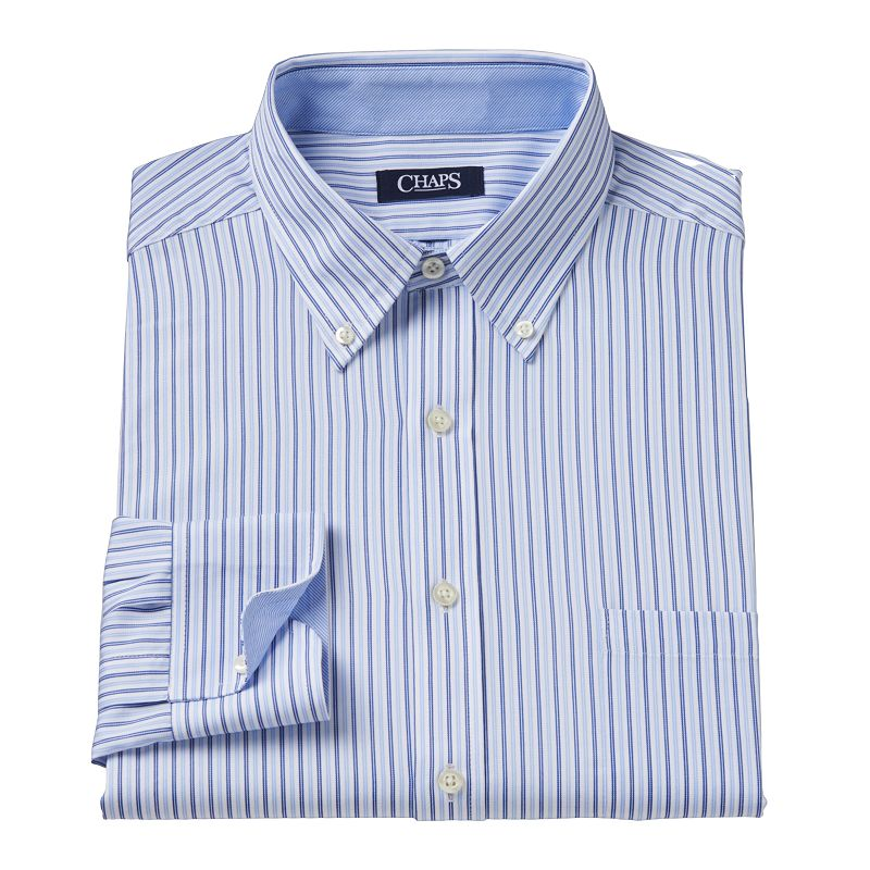 Men 39 s chaps classic fit striped wrinkle free button down for Chaps button down shirts