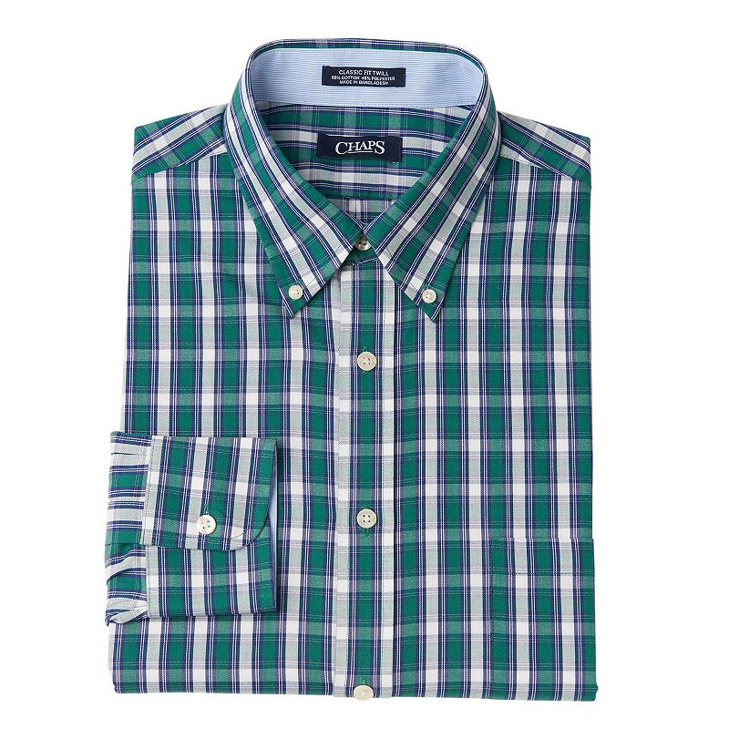 Men's Chaps Classic-Fit Striped Wrinkle-Free Button-Down Collar Dress Shirt - Men