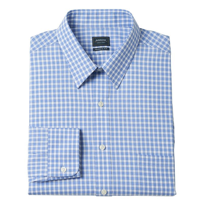 Men's Arrow Classic-Fit Bluebird Checked Poplin No-Iron Point-Collar Dress Shirt