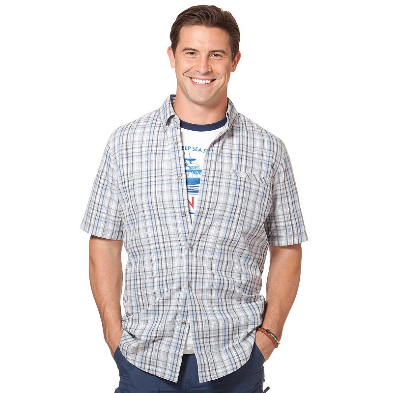 Big & Tall Chaps Maplewood Classic-Fit Performance Plaid Casual Button-Down Shirt