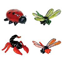 Looking Glass 4-pk. Lady Bug, Dragon Fly & Scorpion Mini Figurines