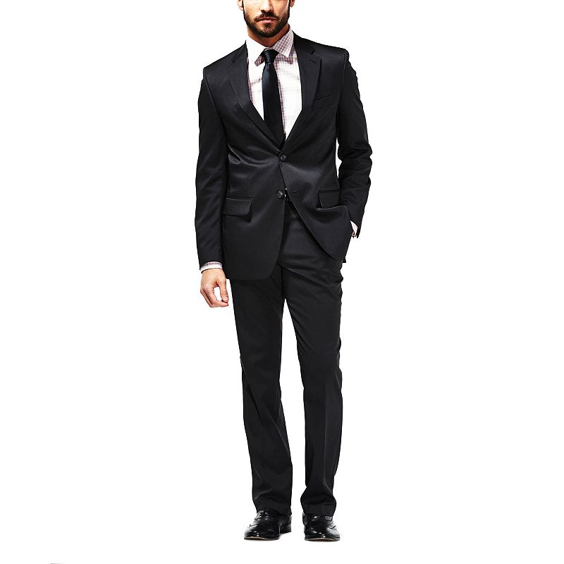 Men's Haggar® Travel Performance Tailored-Fit Striped Black Travel Performance Suit Jacket