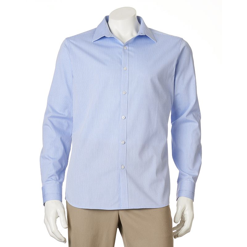 Big & Tall Marc Anthony Slim-Fit Micro Diamond Dobby Striped Woven Casual Button-Down Shirt